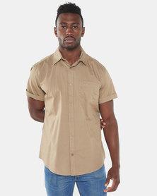 Jeep Short Sleeve Plain Shirt Khaki