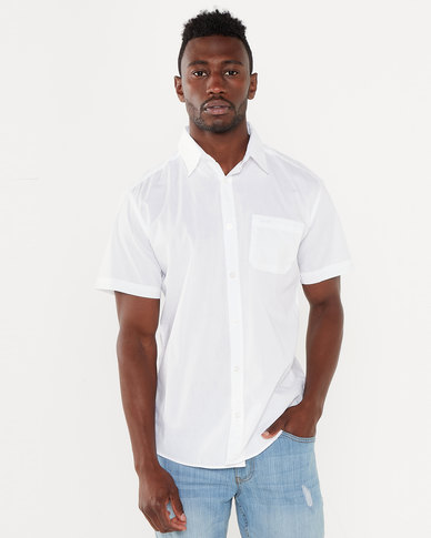 Jeep Short Sleeve Plain Shirt White