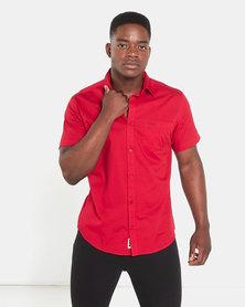 Jeep Short Sleeve Plain Shirt Red