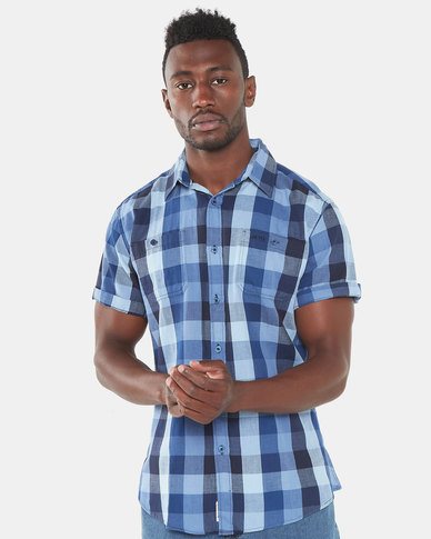 Jeep Short Sleeve Check Shirt Blue
