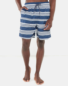 Jeep Elasticated Stripe Swimshorts Navy