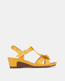 Pierre Cardin Flower Strappy Wedges Mustard