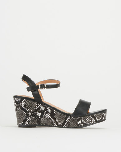 Utopia Snake Covered Wedges Black