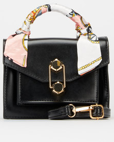 Blackcherry Bag Scarf Detail Crossbody Bag Black