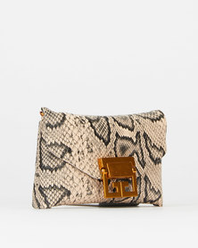 Blackcherry Python Slither Waist Bag Beige/Brown