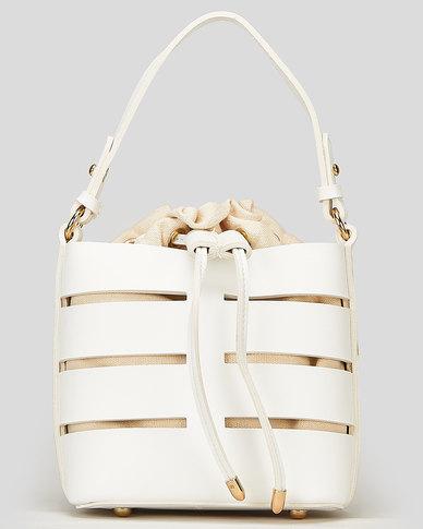 Blackcherry Bag Lined Bucket Bag White
