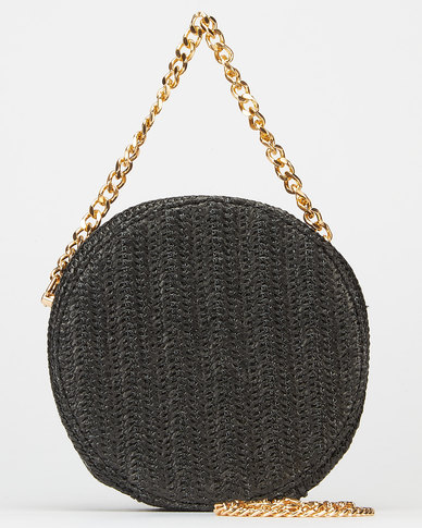 Blackcherry Bag Straw Circle Crossbody Bag Black