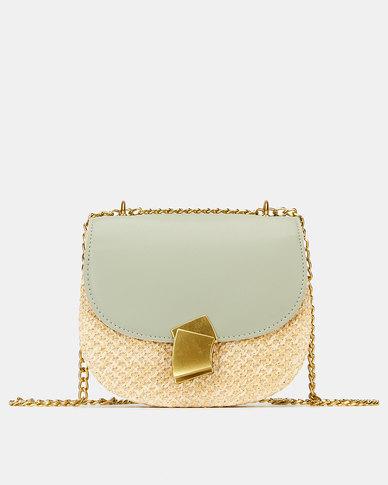 Blackcherry Bag Straw Crossbody Bag Mint Green