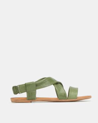 Gia by Queue Leather Elastic Back Sandals Khaki
