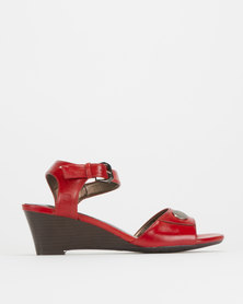 Pierre Cardin Ankle Strap Wedges Red