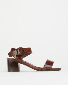Pierre Cardin Block Heel Sandals Brown