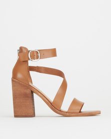 Steve Madden Collins Sandal Heels Cognac Leather