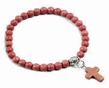 Urban Charm Beaded Bracelet with Cross - Brown