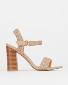 Miss Black TorcelloWeave Detail Stack Heel Taupe