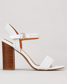 Miss Black TorcelloWeave Detail Stack Heel White