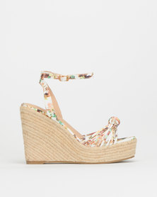 Miss Black Tuscany Pr Strappy Espadrille Wedge White Print