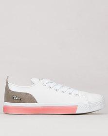 Miss Black Rhodes Contrast Col Sneaker White/Pink