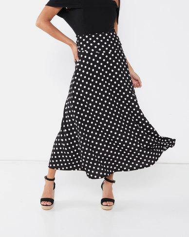 Utopia Polka Dot Flare Skirt Black