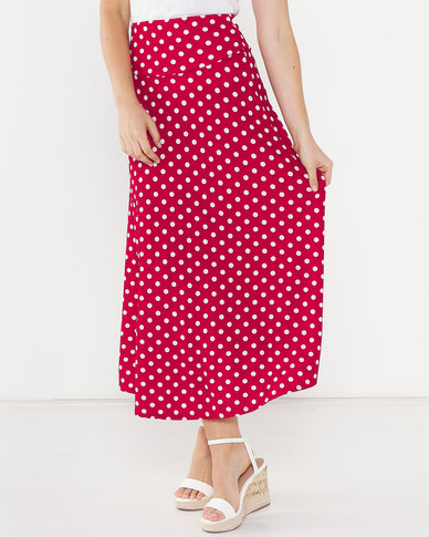 Utopia Polka Dot Flare Skirt Red