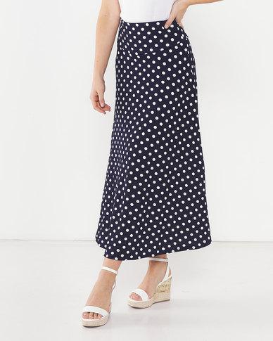 Utopia Polka Dot Flare Skirt Blue