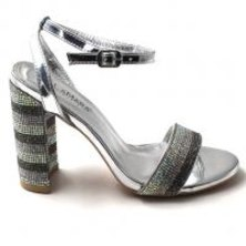 LaMara Paris Ava silver toned diamante-embellished sandals