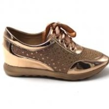 LaMara Paris Kiara glitter-embellished metallic trainers rose gold