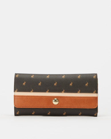 Polo Clutch Purse Brown