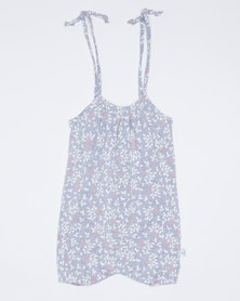 Pickallily Floral Playsuit Grey Melange