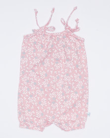 Pickallily Floral Playsuit Rose Pink