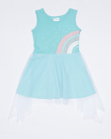Pickallily Rainbow Mesh Dress Aqua