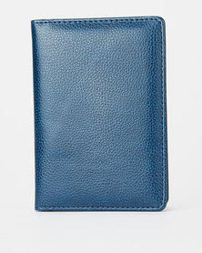 You & I Leather Look Passport Holder Navy