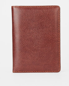 You & I Leather Look Passport Holder Dark Tan