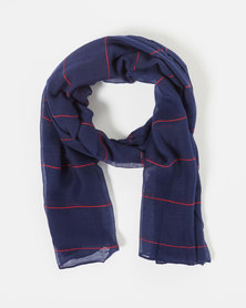 You & I Srtriped Oversized Lightweight Scarf Blue