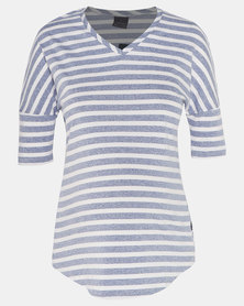 Cherry Melon Stripe T-Shirt With Curved Hem Navy/White