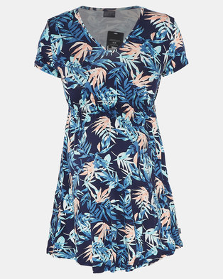 Cherry Melon Palm Garden Print Underbust Smock Detail Top Blue