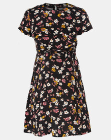 Cherry Melon Spring Floral Flared Tunic Top Black