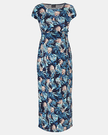 Cherry Melon Palm Garden Print Round Neck Maxi Dress Blue