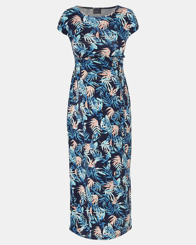 Cherry Melon Palm Garden Print Round Neck Maxi Dress Blue