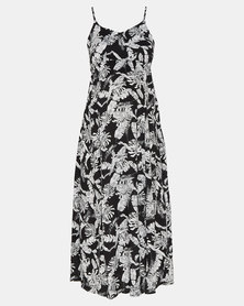 Cherry Melon Leaf Print Woven Maxi Dress Black/White
