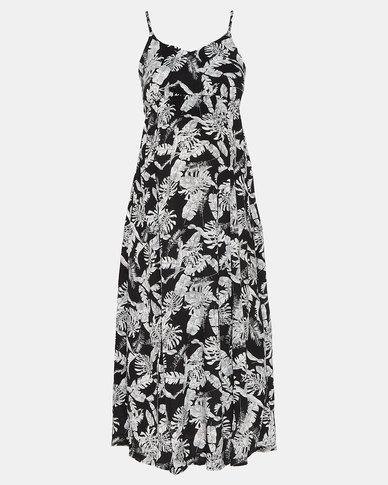 Cherry Melon Leaf Print Woven Maxi Dress Black/White