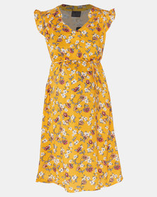 Cherry Melon Spring Floral Mandarin Tie Dress Yellow