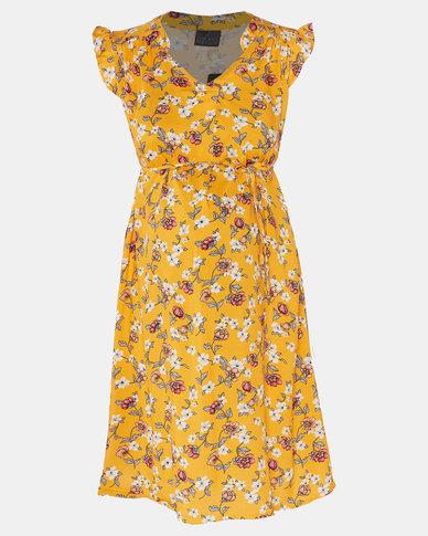 Cherry Melon Spring Floral Mandarin Tie Dress Yellow