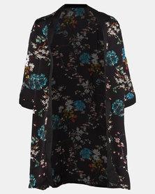 Cherry Melon Geisha Floral Kimono Black
