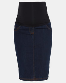 Cherry Melon Denim Skirt Dark Wash Indigo