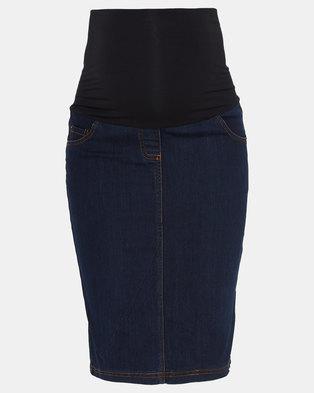 Cherry Melon Denim Skirt Dark Wash Indigo