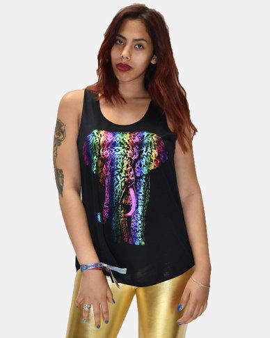 SKA Rainbow Elephant Print Vest Black