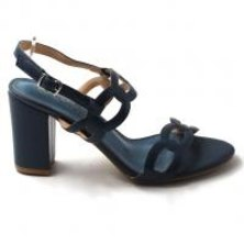 LaMara Paris Ivy embossed block-heel sandals navy