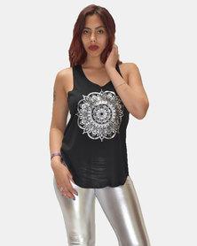 SKA Silver Circle Print Vest Black