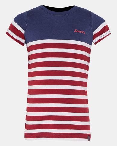 Soviet B Gianni Boys Short Sleeve Y/Dye Stripe Tee Navy