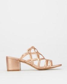 Utopia Mira Block Heels Rose Gold